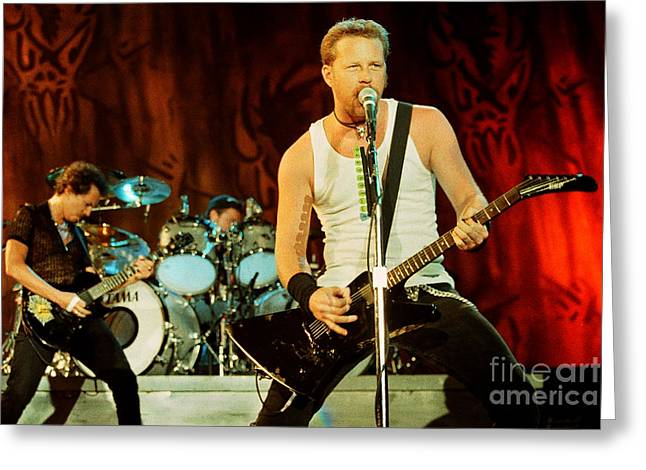 Metallica Greeting Cards - Metallica 96-Band-0245 Greeting Card by Timothy Bischoff