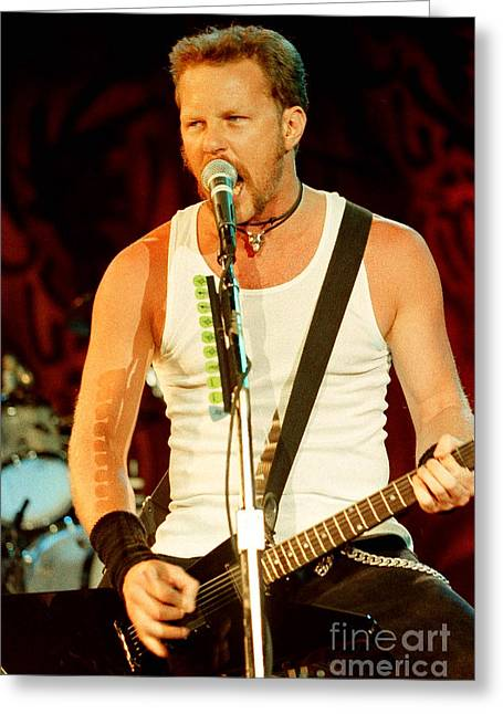 Metallica Greeting Cards - Metallica 96-James-0256 Greeting Card by Timothy Bischoff