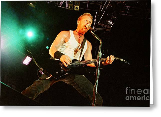 Metallica Greeting Cards - Metallica 96-James-0270 Greeting Card by Timothy Bischoff
