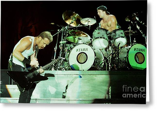 Metallica Greeting Cards - Metallica 96-James-Lars-0227 Greeting Card by Timothy Bischoff