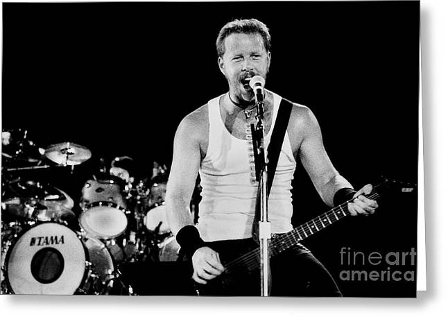 Metallica Greeting Cards - Metallica 96-James-Lars-0324 Greeting Card by Timothy Bischoff