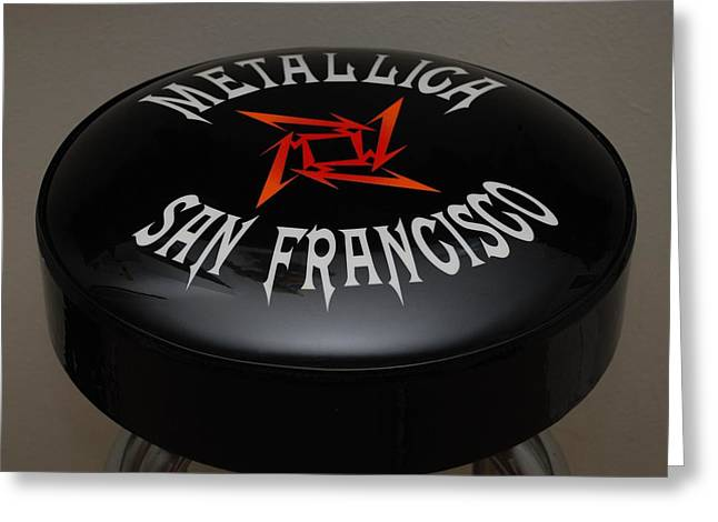 Metallica Greeting Cards - Metallica Bar Stool Greeting Card by Rob Hans