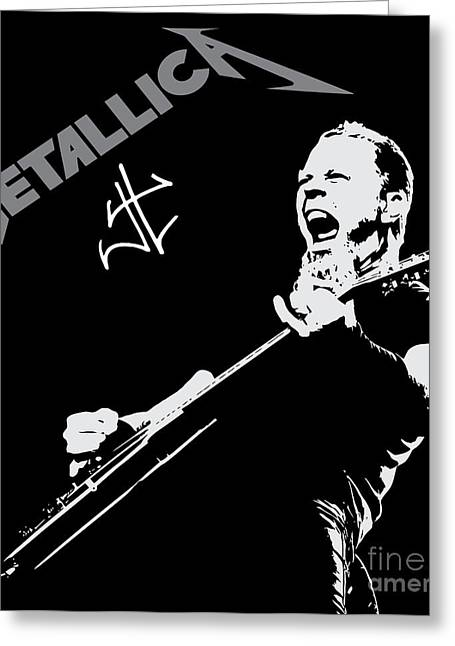 Guitar Digital Greeting Cards - Metallica Greeting Card by Caio Caldas