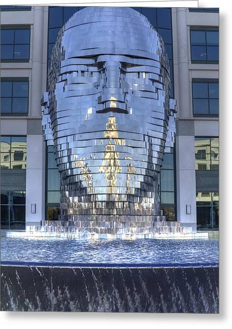 Sculptures Digital Greeting Cards - Metalmorphosis Statue Metal Sculpture Fountain Greeting Card by Dustin K Ryan