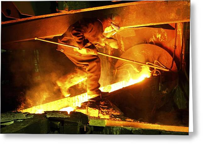 Asian Workers Greeting Cards - Metalworks Foundry Worker Greeting Card by Ria Novosti