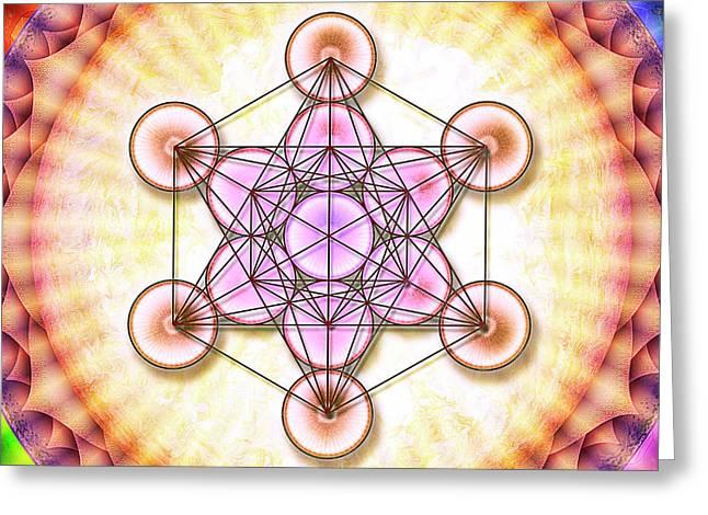 Metatron's Cube - Artwork Sun No. 2 - 1 Greeting Card by Dirk Czarnota