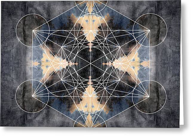 Sacred Digital Greeting Cards - Metatrons Cube J Greeting Card by Filippo B