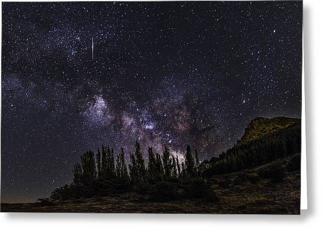 Andromeda Galaxy Greeting Cards - Meteorite  Greeting Card by Guido Montanes Castillo
