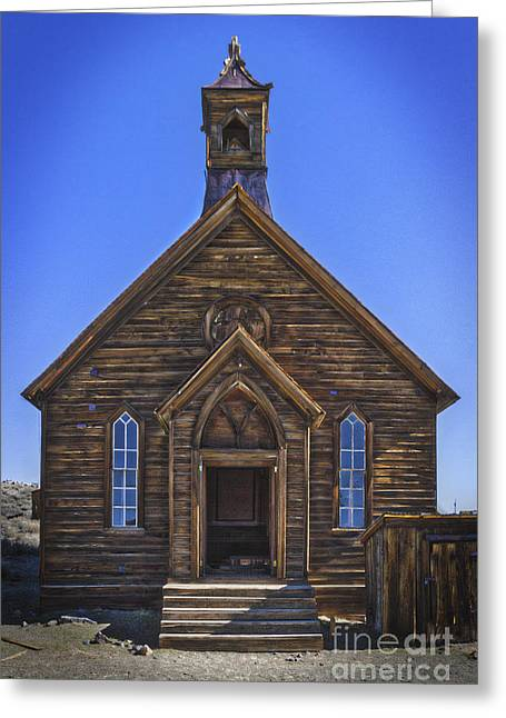 Bodie Out House Greeting Cards - Methodist Church Bodie California Greeting Card by Mitch Shindelbower