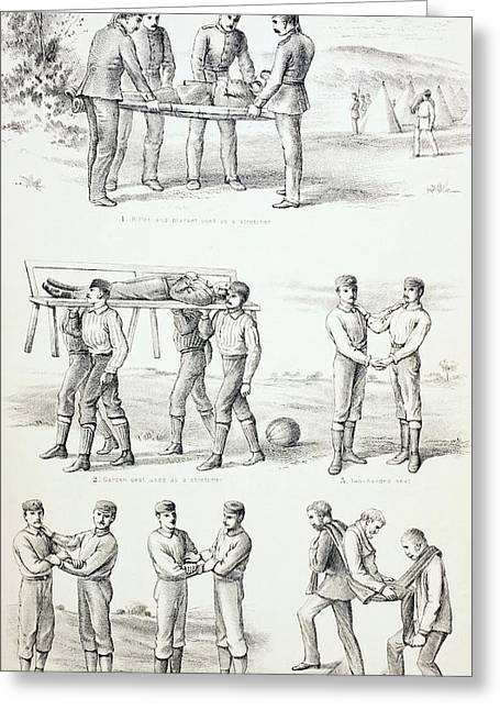 Two Handed Greeting Cards - Methods Of Carrying Injured Persons Greeting Card by Ken Welsh