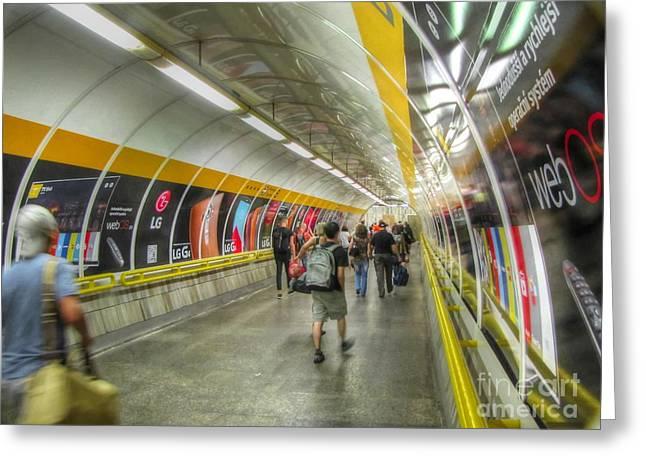 People Pyrography Greeting Cards - metro Budapesht Greeting Card by Yury Bashkin