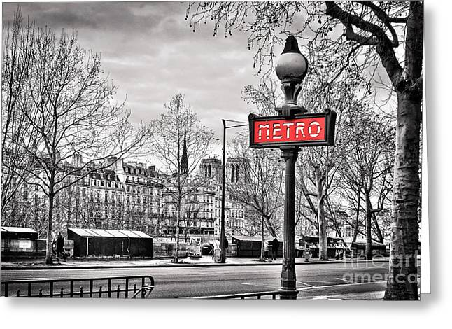 Metro Pont Marie Greeting Card by Delphimages Photo Creations