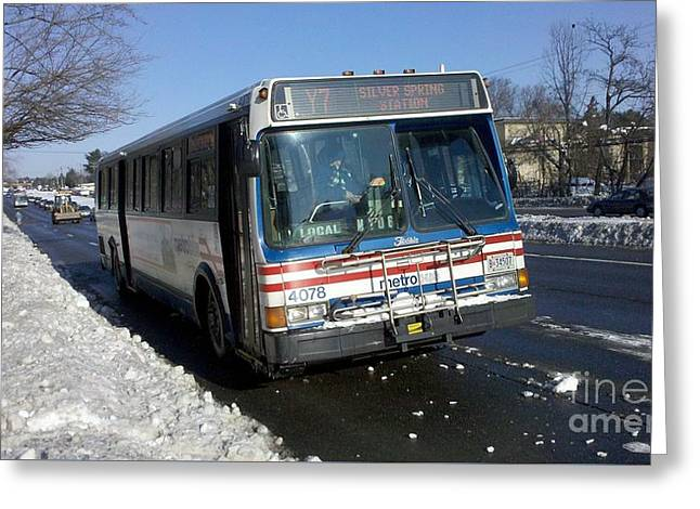 Snowmageddon Greeting Cards - Metrobus on road after major snowstorm Greeting Card by Ben Schumin