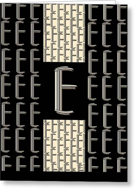 Party Invite Greeting Cards - Metropolitan Park 1920s Art Deco monogram letter initial E Greeting Card by Cecely Bloom