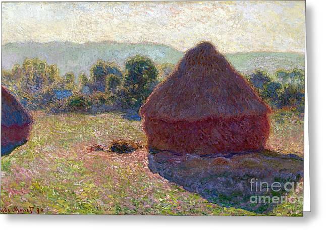Vintage Painter Greeting Cards - Meules - milieu du jour Greeting Card by Claude Monet