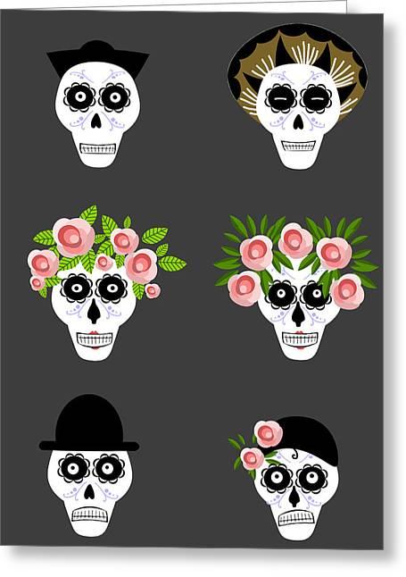 Postal Drawings Greeting Cards - Mexian skulls Greeting Card by Anastasia Stepanova