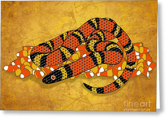 Snake Illustration Greeting Cards - Mexican Candy Corn Snake Greeting Card by Laura Brightwood