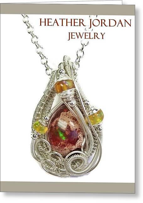 Wrap Jewelry Greeting Cards - Mexican Cantera Opal Pendant in Sterling Silver with Ethiopian Welo Opals CMFOSS2 Greeting Card by Heather Jordan