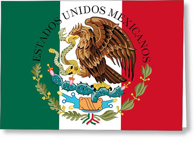 Snake Flag Greeting Cards - Mexican flag and coat of arms  Greeting Card by Bruce Stanfield