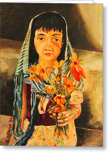 Mexican Flowers Greeting Cards - Mexican Flower Girl Greeting Card by John Keaton