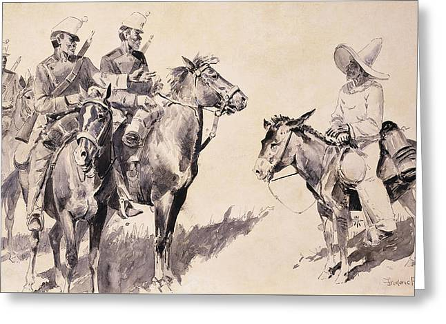 Mexican Gendarmes Asking The Way Greeting Card by Frederic Remington