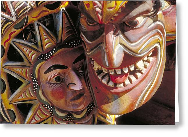 Scarey Greeting Cards - Mexican Masks Greeting Card by Jerry McElroy