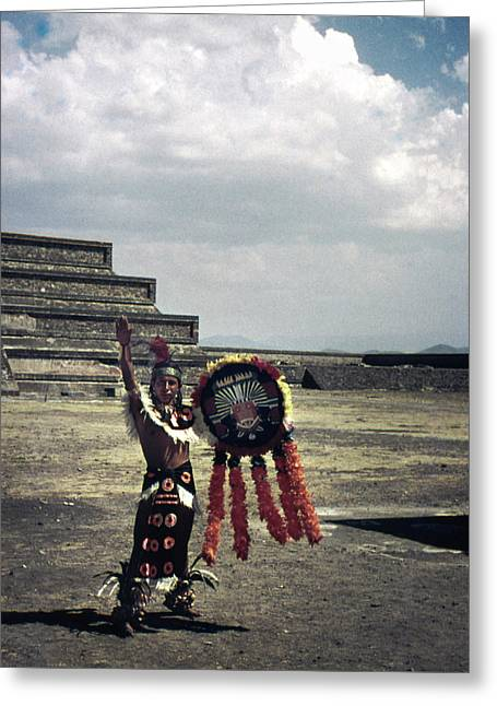 Mexican Mesoamerican Dancer Vintage Greeting Card by Marilyn Hunt