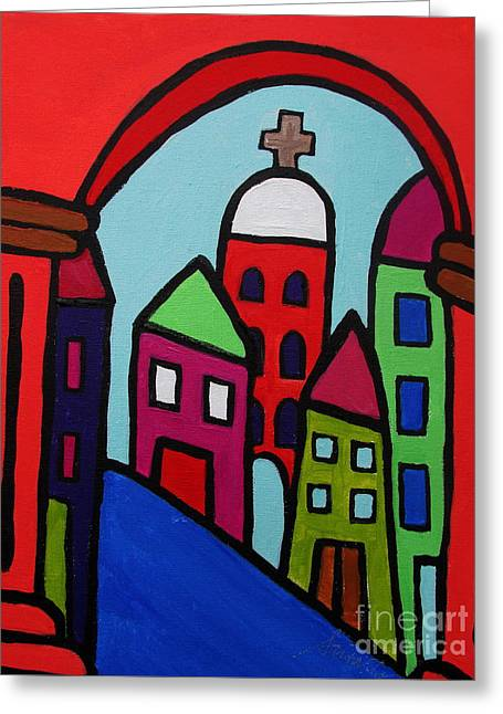 Church Pillars Paintings Greeting Cards - Mexican Pueblo Ii Greeting Card by Pristine Cartera Turkus
