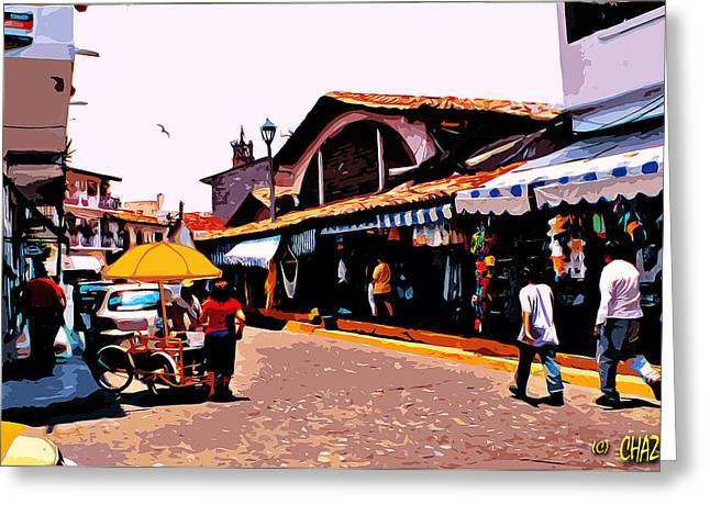 People Paintings Greeting Cards - Mexican Street Scene Greeting Card by CHAZ Daugherty