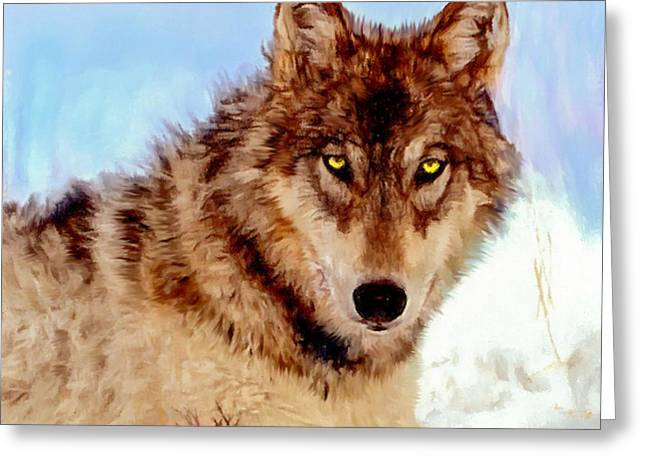 Dogs Digital Greeting Cards - Mexican Wolf Painting Greeting Card by  Bob and Nadine Johnston