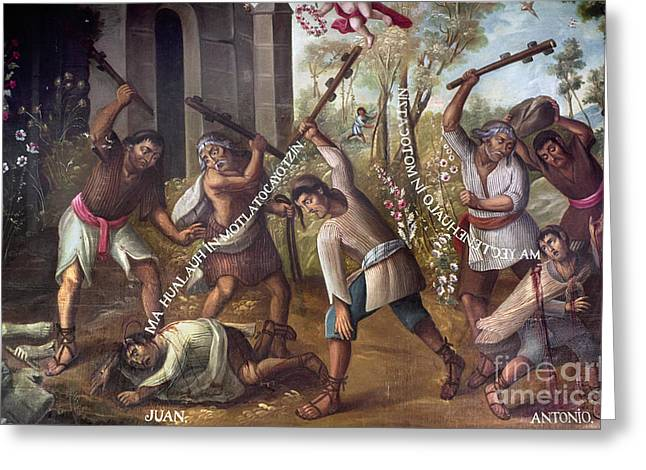 Persecution Greeting Cards - Mexico: Christian Martyrs Greeting Card by Granger