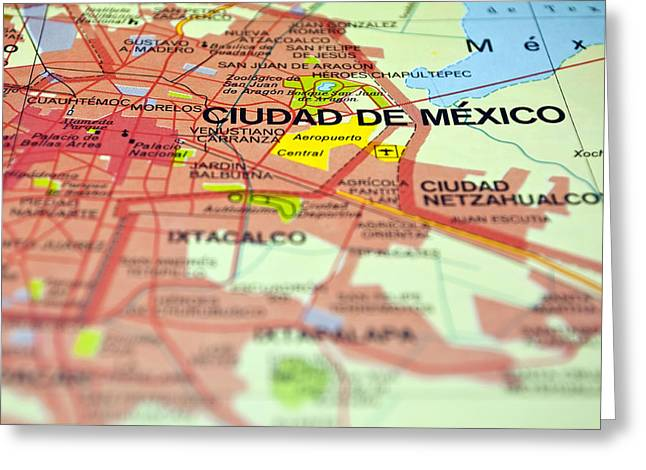 Mexico City Greeting Cards - Mexico City map. Greeting Card by Fernando Barozza
