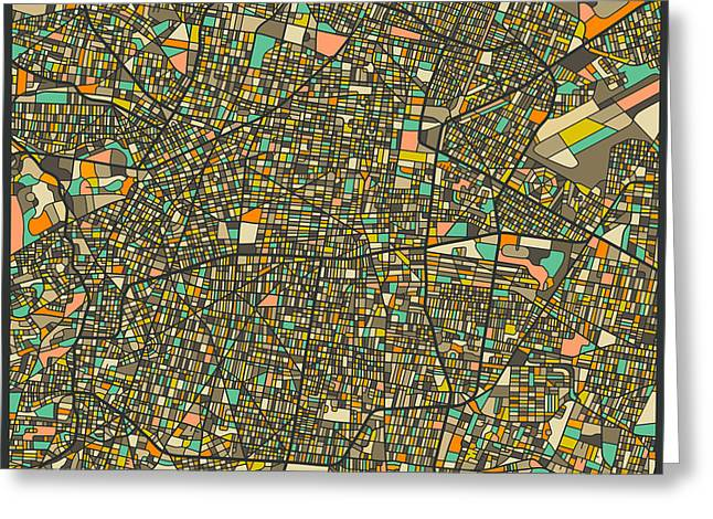 Mexico City Map Greeting Card by Jazzberry Blue