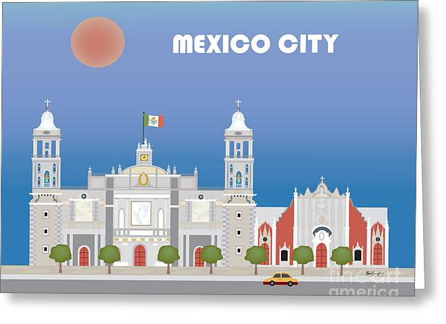 Mexico City Digital Greeting Cards - Mexico City Mexico Horizontal City Art by Loose Petals Greeting Card by Karen Young