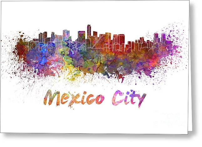 Mexico City Paintings Greeting Cards - Mexico City skyline in watercolor Greeting Card by Pablo Romero