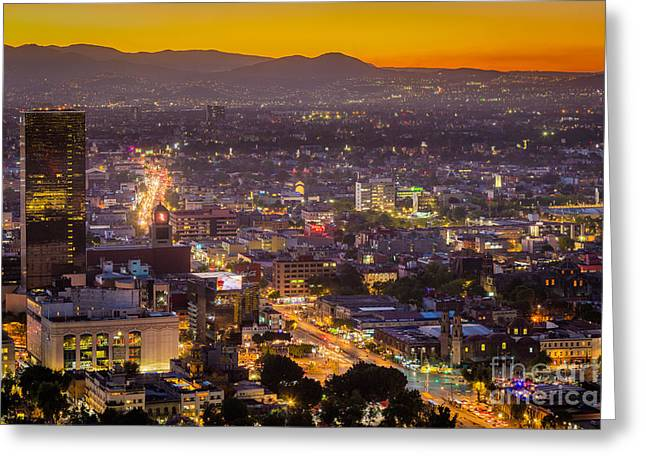 Mexico City Sunset Greeting Card by Inge Johnsson