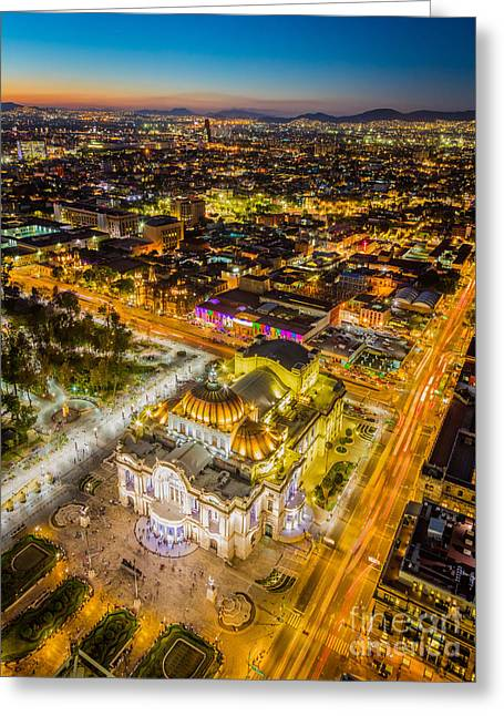 Mexico City Twilight Greeting Card by Inge Johnsson