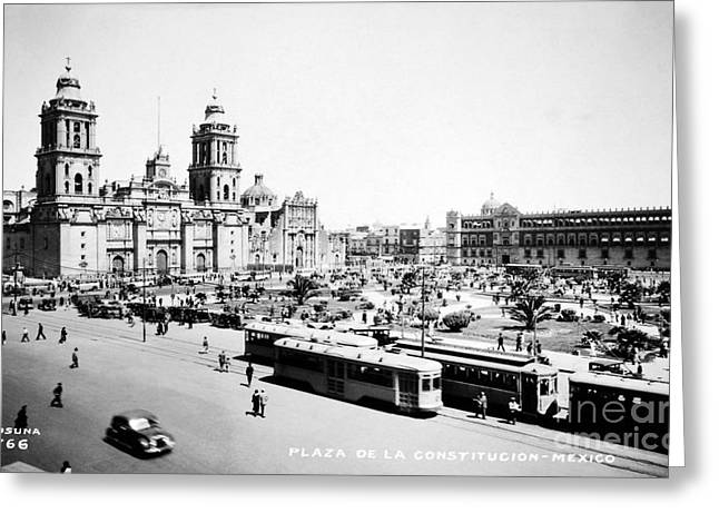 Mesoamerica Greeting Cards - MEXICO CITY: ZOCALO, c1930 Greeting Card by Granger