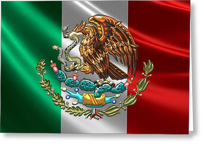 Coa Greeting Cards - Mexico - Coat of Arms over Flag Greeting Card by Serge Averbukh