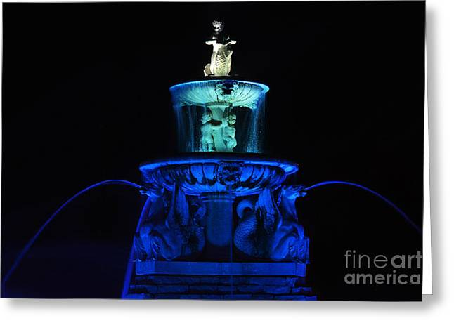 Sea Horse Greeting Cards - Meyer Circle Sea Horse Fountain in Blue Greeting Card by Catherine Sherman