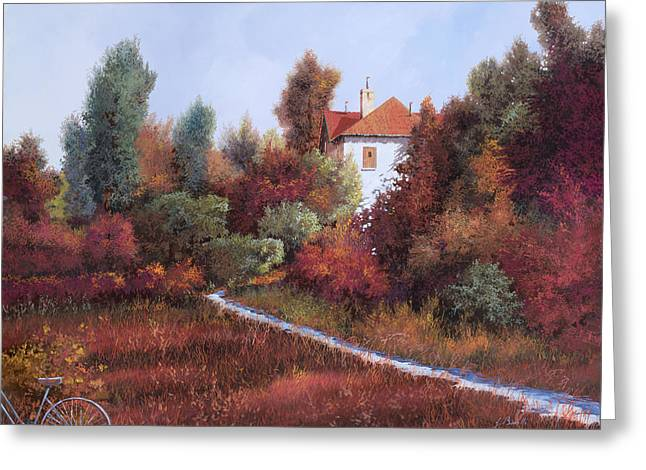 Warm Landscape Greeting Cards - Mezza Bicicletta Nel Bosco Greeting Card by Guido Borelli