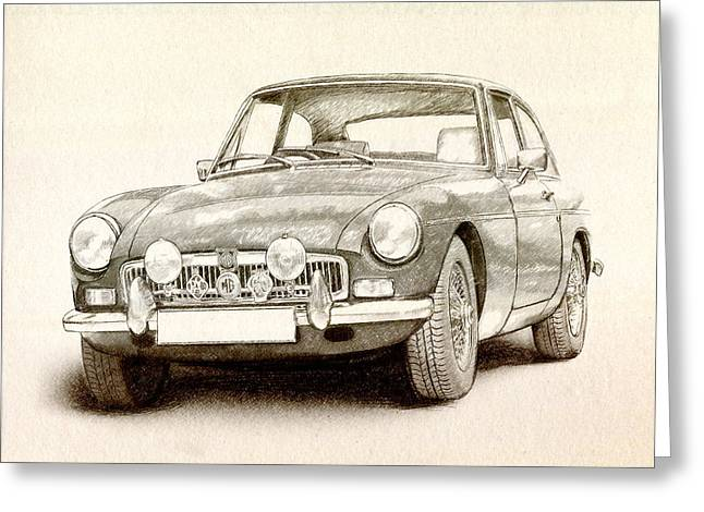 Classic Digital Greeting Cards - MG MGB MkII Greeting Card by Michael Tompsett