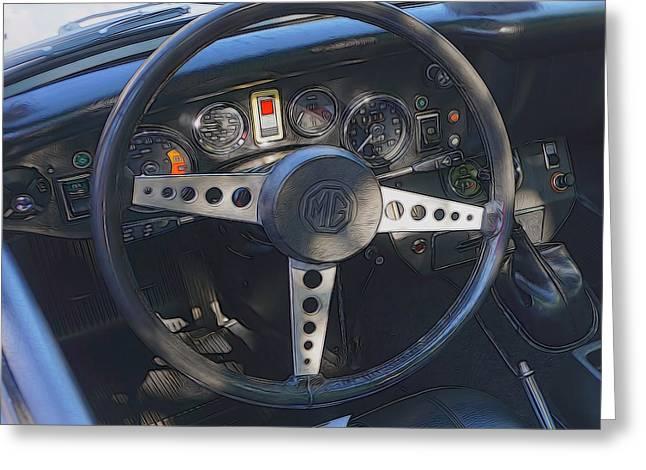 Steering Greeting Cards - MG Midget Steering Wheel Greeting Card by Cathy Anderson