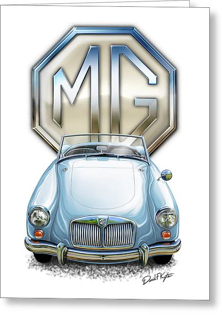 English Car Greeting Cards - MGA Sports Car in Light Blue Greeting Card by David Kyte