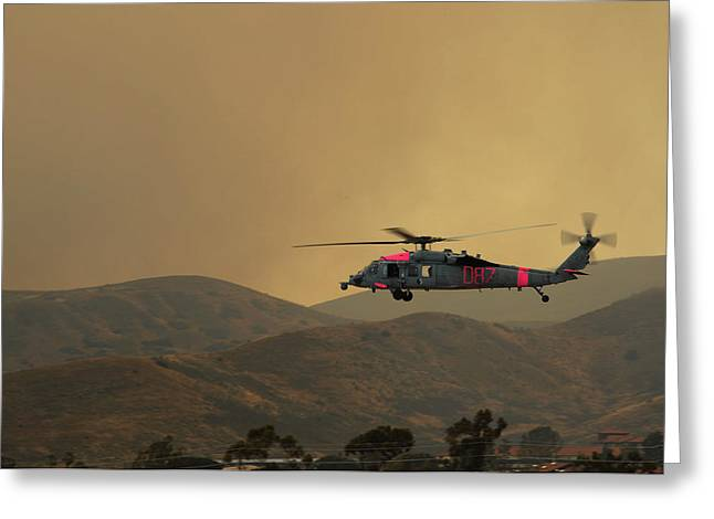 War Memorial Paintings Greeting Cards - MH-60S Sea Hawk helicopter US Navy Greeting Card by Celestial Images