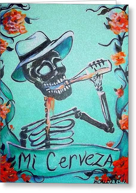 Des Paintings Greeting Cards - Mi Cerveza Greeting Card by Heather Calderon