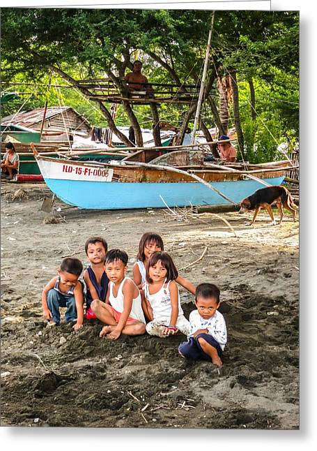 Fishing Boats Greeting Cards - Mia-Gao Fishing Children 1 Greeting Card by Mark Sellers