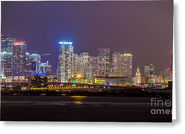 American Airlines Arena Greeting Cards - Miami After Dark Skyline Bay View Greeting Card by Rene Triay Photography