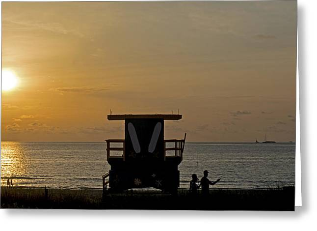 Jogging Greeting Cards - Miami Beach 2758 Greeting Card by Steve Lipson
