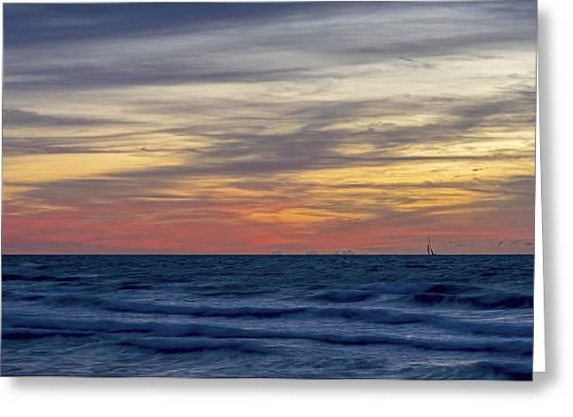 Ocean Sailing Greeting Cards - Miami Beach 2895 Greeting Card by Steve Lipson